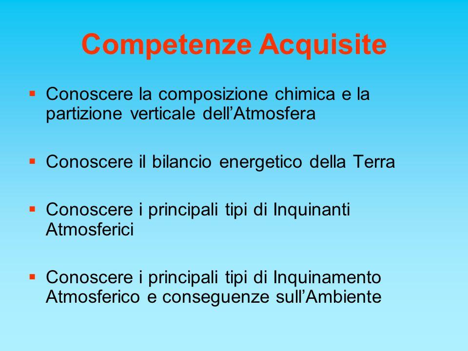 Competenze Acquisite Conoscere la composizione chimica e la partizione verticale dellAtmosfera Conoscere il bilancio energetico della Terra Conoscere