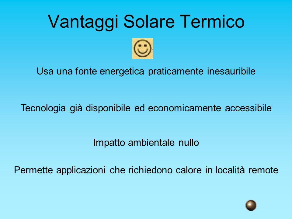 Vantaggi Solare Termico Usa una fonte energetica praticamente inesauribile Tecnologia già disponibile ed economicamente accessibile Impatto ambientale