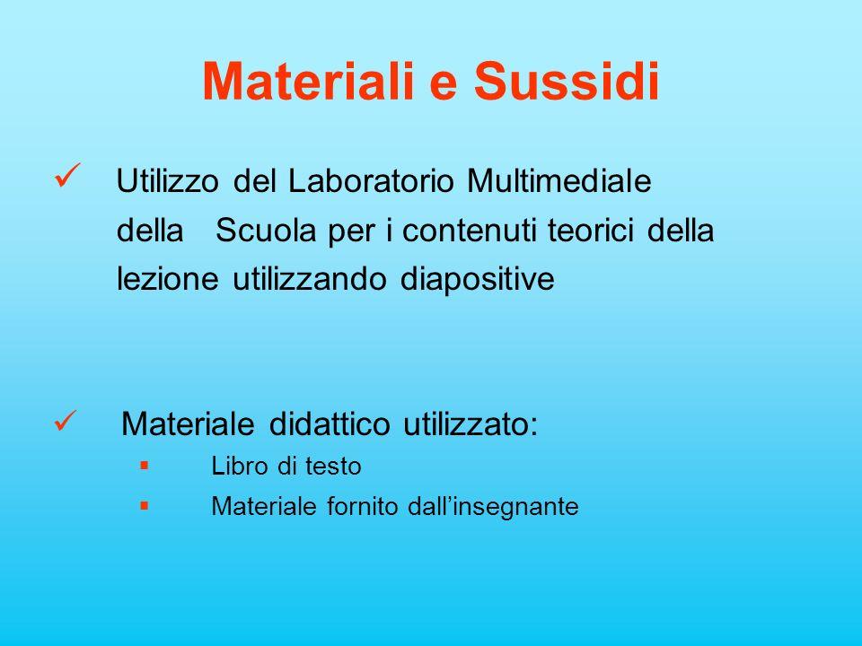 Materiali e Sussidi Utilizzo del Laboratorio Multimediale della Scuola per i contenuti teorici della lezione utilizzando diapositive Materiale didatti