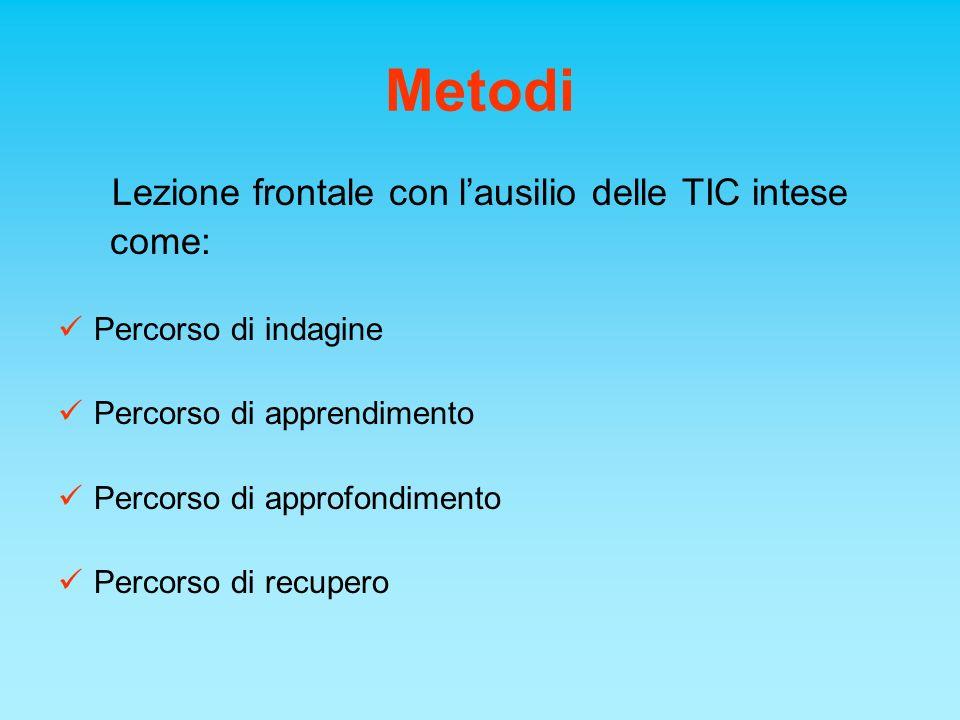 Metodi Lezione frontale con lausilio delle TIC intese come: Percorso di indagine Percorso di apprendimento Percorso di approfondimento Percorso di rec