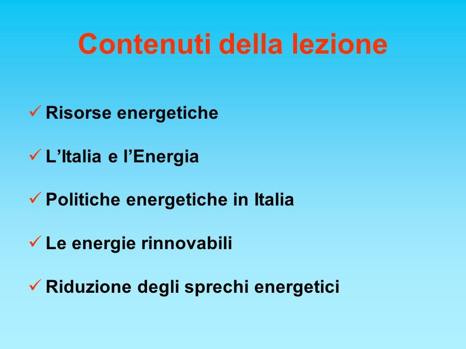 Contenuti della lezione Risorse energetiche LItalia e lEnergia Politiche energetiche in Italia Le energie rinnovabili Riduzione degli sprechi energeti