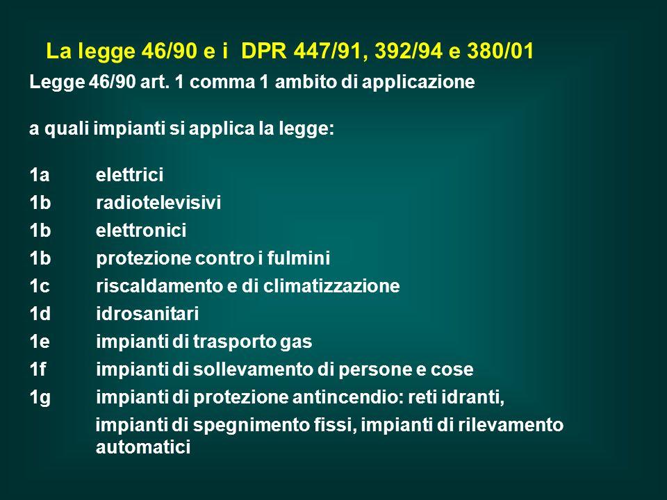 Legge 46/90 art. 1 comma 1 ambito di applicazione a quali impianti si applica la legge: 1a elettrici 1b radiotelevisivi 1b elettronici 1b protezione c