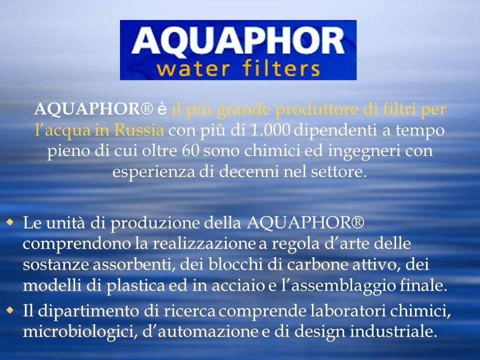 Le unità di produzione della AQUAPHOR® comprendono la realizzazione a regola darte delle sostanze assorbenti, dei blocchi di carbone attivo, dei model