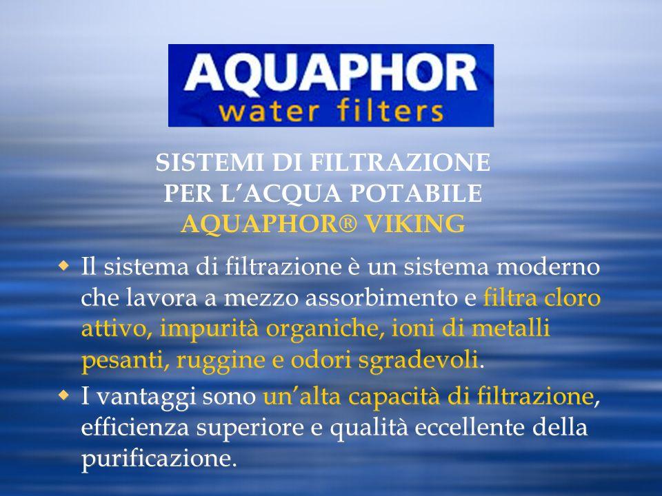 Il sistema di filtrazione è un sistema moderno che lavora a mezzo assorbimento e filtra cloro attivo, impurità organiche, ioni di metalli pesanti, rug