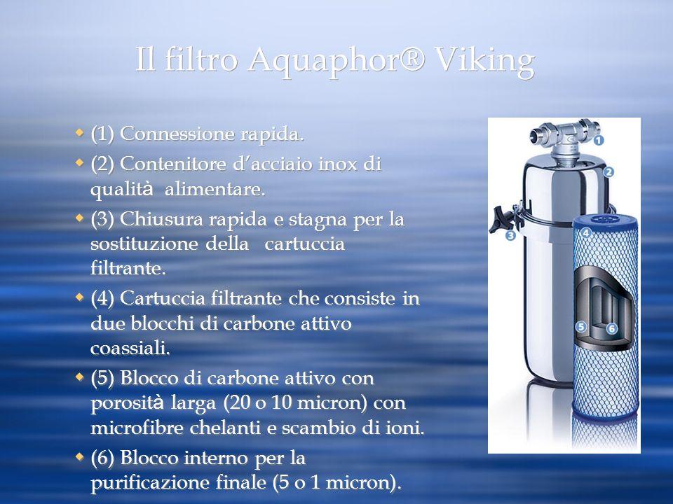 Il filtro Aquaphor® Viking (1) Connessione rapida. (2) Contenitore dacciaio inox di qualit à alimentare. (3) Chiusura rapida e stagna per la sostituzi