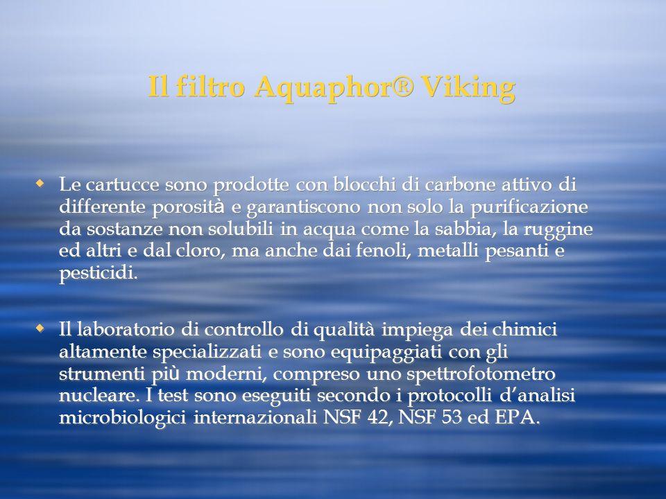 Il filtro Aquaphor® Viking Le cartucce sono prodotte con blocchi di carbone attivo di differente porosit à e garantiscono non solo la purificazione da