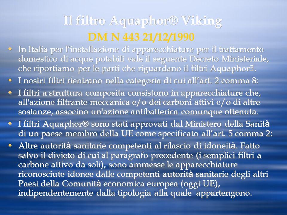 Il filtro Aquaphor® Viking In Italia per linstallazione di apparecchiature per il trattamento domestico di acque potabili vale il seguente Decreto Min