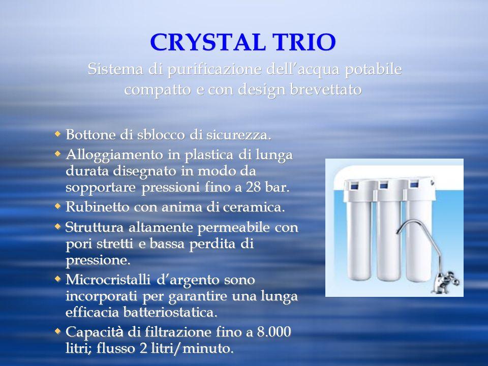 CRYSTAL TRIO Sistema di purificazione dellacqua potabile compatto e con design brevettato Bottone di sblocco di sicurezza. Alloggiamento in plastica d