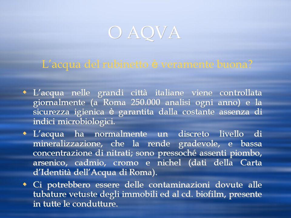 O AQVA Lacqua nelle grandi città italiane viene controllata giornalmente (a Roma 250.000 analisi ogni anno) e la sicurezza igienica è garantita dalla