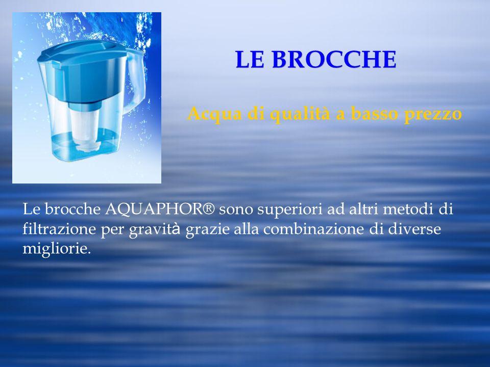 LE BROCCHE Acqua di qualità a basso prezzo Le brocche AQUAPHOR® sono superiori ad altri metodi di filtrazione per gravit à grazie alla combinazione di