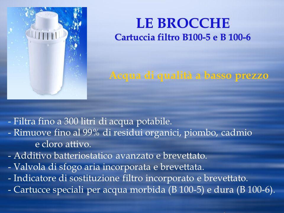 LE BROCCHE Cartuccia filtro B100-5 e B 100-6 Acqua di qualità a basso prezzo - Filtra fino a 300 litri di acqua potabile. - Rimuove fino al 99% di res