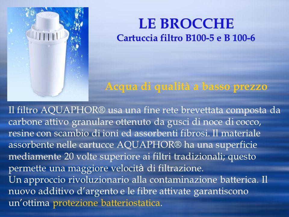 LE BROCCHE Cartuccia filtro B100-5 e B 100-6 Acqua di qualità a basso prezzo Il filtro AQUAPHOR® usa una fine rete brevettata composta da carbone atti