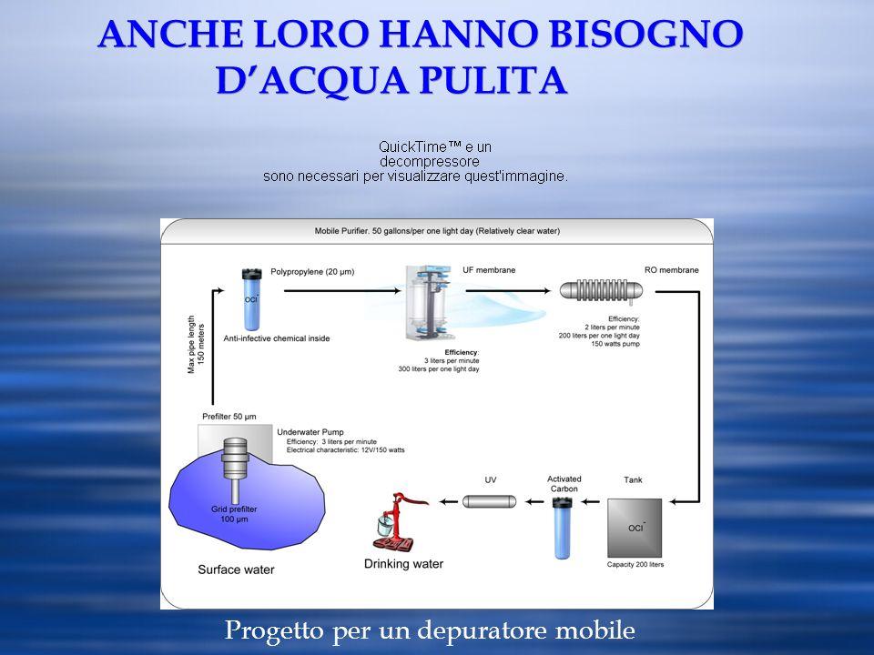ANCHE LORO HANNO BISOGNO DACQUA PULITA Progetto per un depuratore mobile
