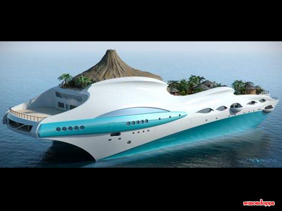 Questisola galleggiante ha una lunghezza di novanta metri, e si sposta alla velocità massima di 15 nodi. A bordo, è stato previsto tutto: un (classico