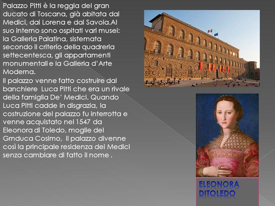 Il palazzo venne fatto costruire dal banchiere Luca Pitti che era un rivale della famiglia De Medici.