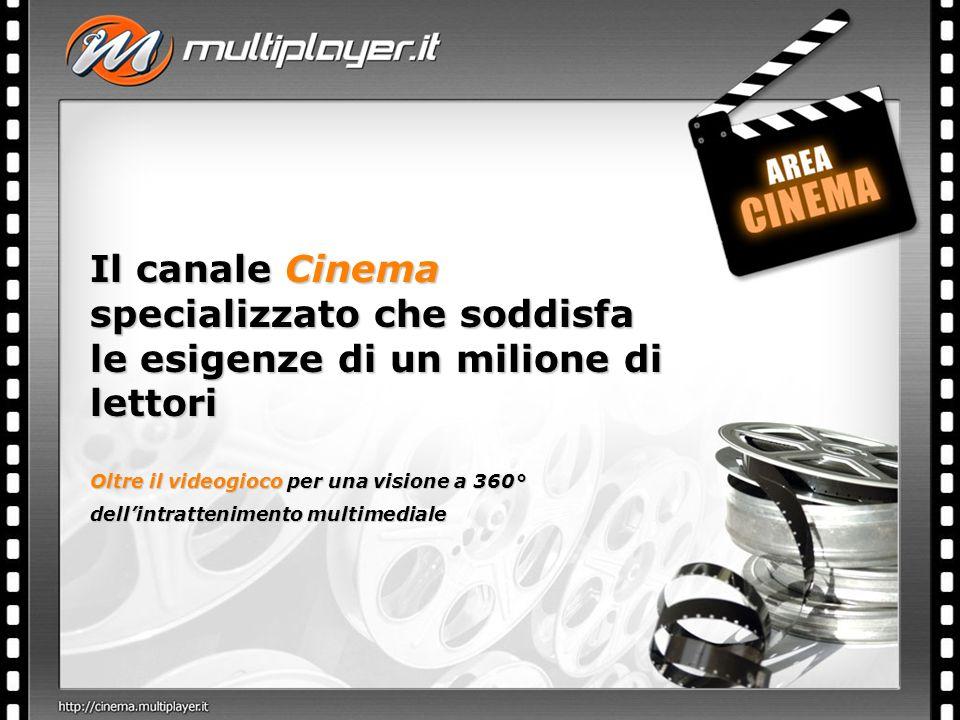 Il canale Cinema specializzato che soddisfa le esigenze di un milione di lettori Oltre il videogioco per una visione a 360° dellintrattenimento multimediale