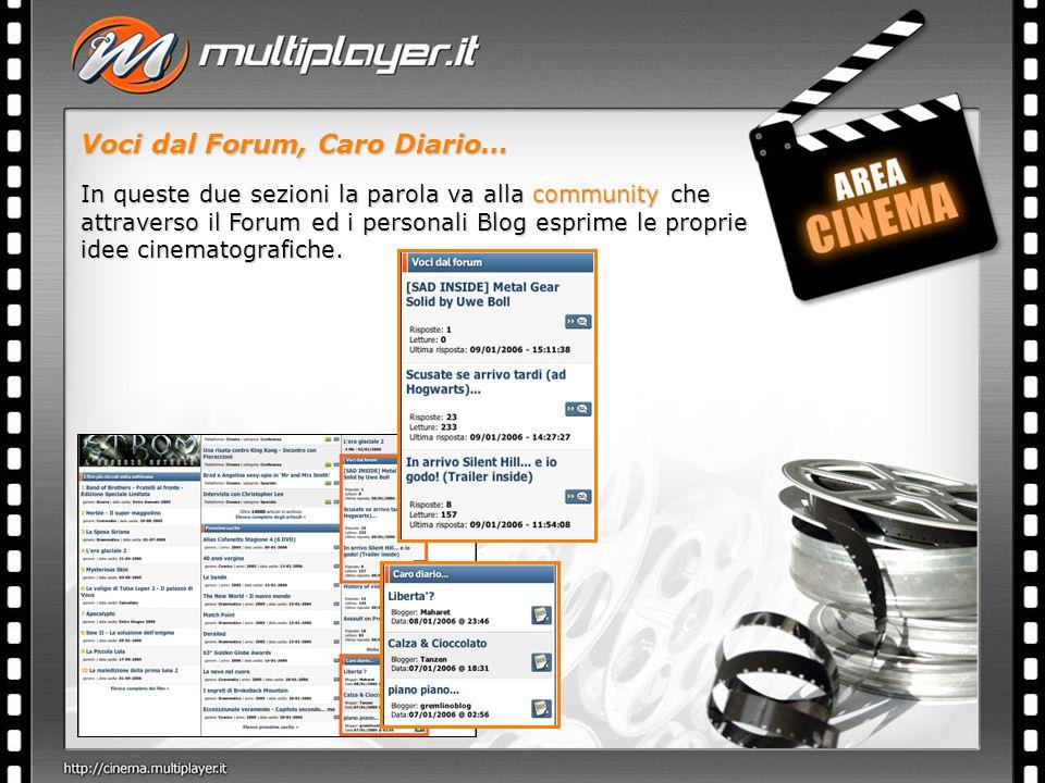 Voci dal Forum, Caro Diario… In queste due sezioni la parola va alla community che attraverso il Forum ed i personali Blog esprime le proprie idee cinematografiche.