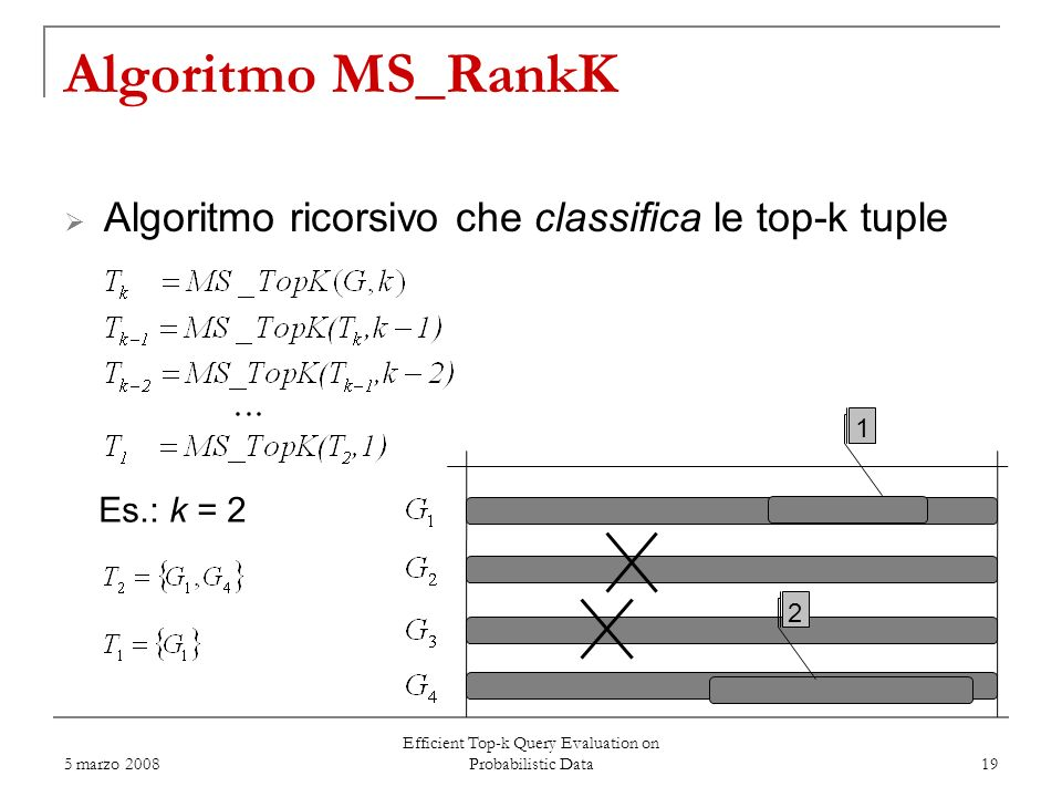 5 marzo 2008 Efficient Top-k Query Evaluation on Probabilistic Data 19 Algoritmo MS_RankK Algoritmo ricorsivo che classifica le top-k tuple Es.: k = 2 1 2