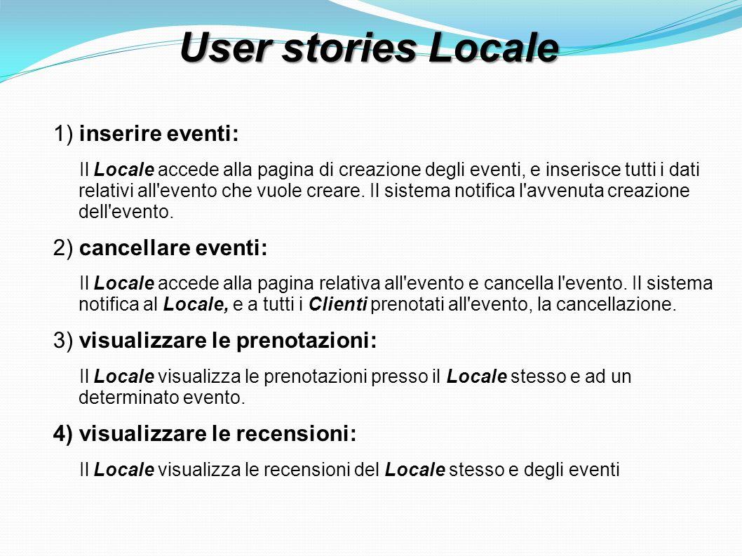 User stories Locale 1) inserire eventi: Il Locale accede alla pagina di creazione degli eventi, e inserisce tutti i dati relativi all evento che vuole creare.