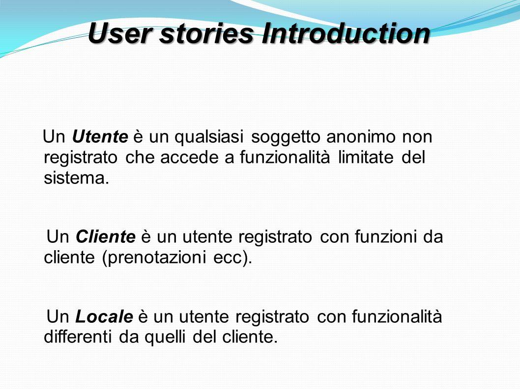 User stories Utente 1) registrarsi come Cliente: L Utente accede al sistema e si registra come Cliente, inserendo i dati come nome, cognome, indirizzo, ecc..