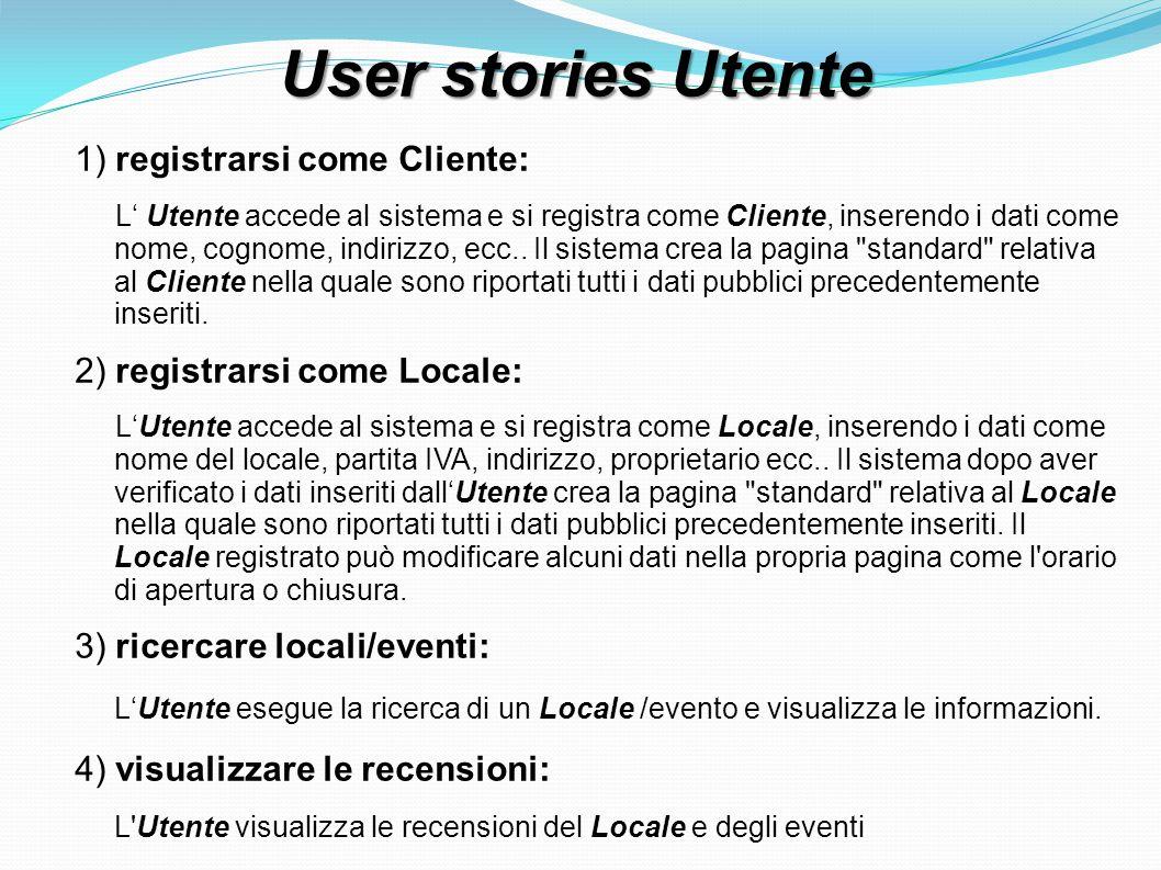 User stories Utente 1) registrarsi come Cliente: L Utente accede al sistema e si registra come Cliente, inserendo i dati come nome, cognome, indirizzo