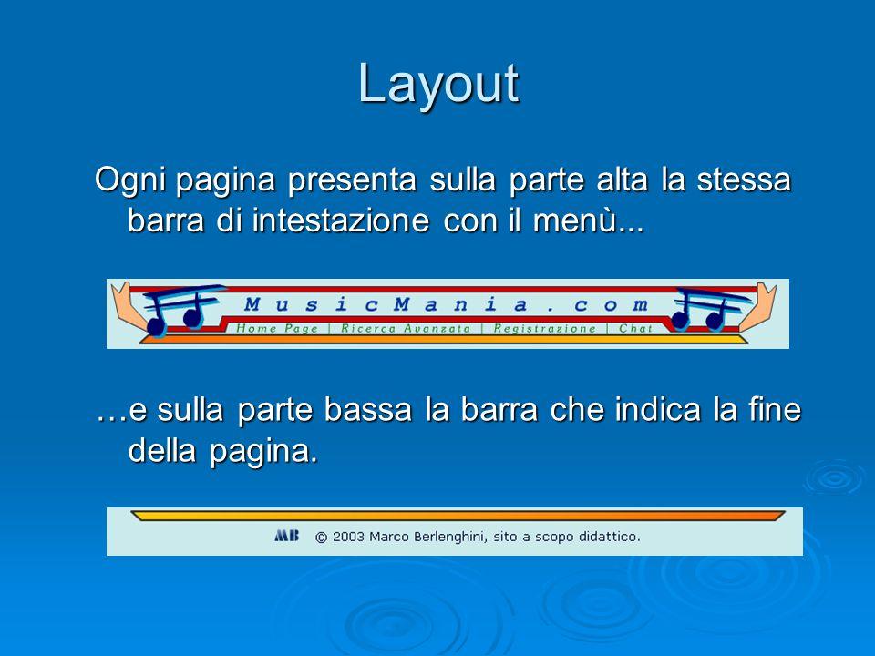 Layout Ogni pagina presenta sulla parte alta la stessa barra di intestazione con il menù... …e sulla parte bassa la barra che indica la fine della pag