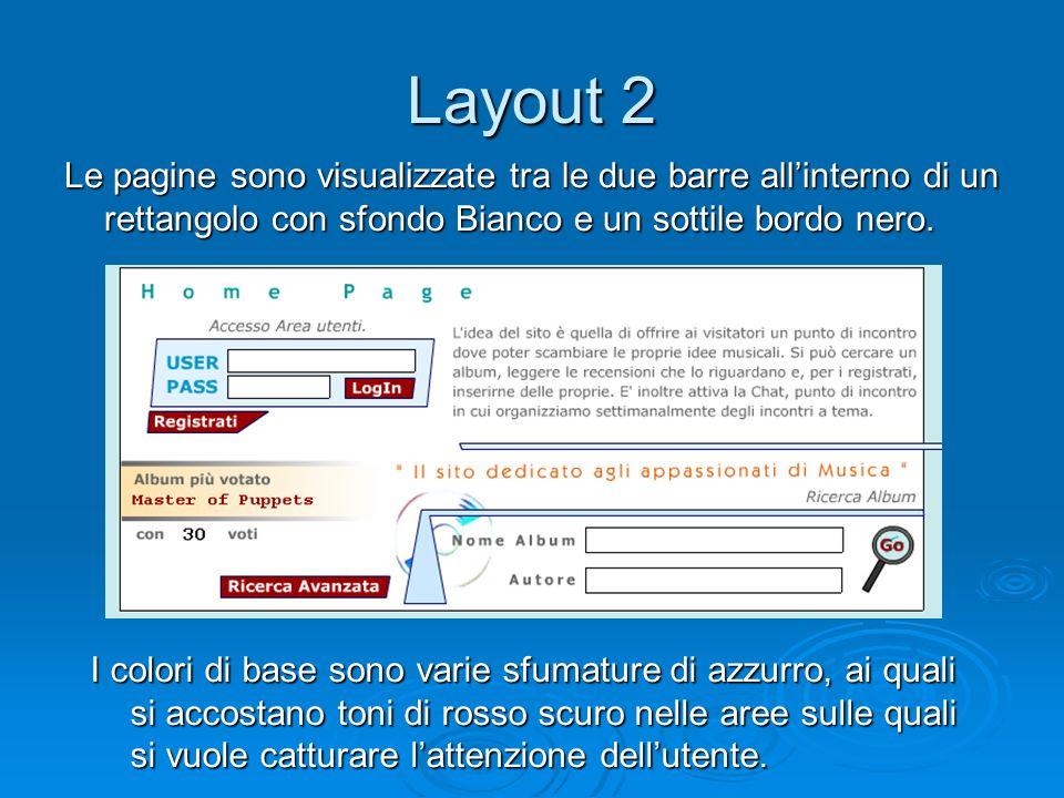 Layout 2 Le pagine sono visualizzate tra le due barre allinterno di un rettangolo con sfondo Bianco e un sottile bordo nero. I colori di base sono var