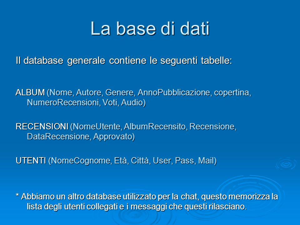 La base di dati Il database generale contiene le seguenti tabelle: ALBUM (Nome, Autore, Genere, AnnoPubblicazione, copertina, NumeroRecensioni, Voti, Audio) RECENSIONI (NomeUtente, AlbumRecensito, Recensione, DataRecensione, Approvato) UTENTI (NomeCognome, Età, Città, User, Pass, Mail) * Abbiamo un altro database utilizzato per la chat, questo memorizza la lista degli utenti collegati e i messaggi che questi rilasciano.