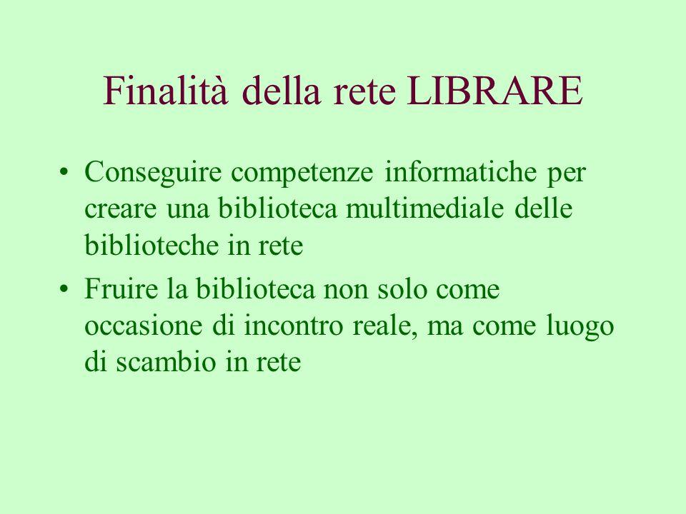 Finalità della rete LIBRARE Conseguire competenze informatiche per creare una biblioteca multimediale delle biblioteche in rete Fruire la biblioteca non solo come occasione di incontro reale, ma come luogo di scambio in rete