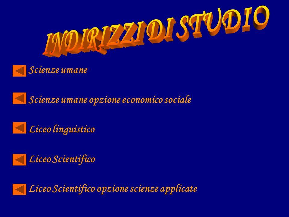 Scienze umane Scienze umane opzione economico sociale Liceo linguistico Liceo Scientifico Liceo Scientifico opzione scienze applicate
