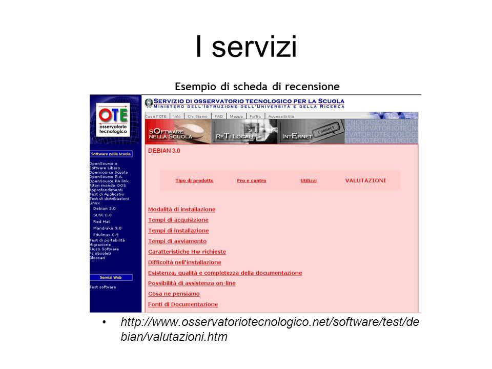 I servizi http://www.osservatoriotecnologico.net/software/test/de bian/valutazioni.htm Esempio di scheda di recensione