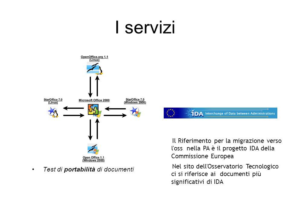I servizi Test di portabilità di documenti Il Riferimento per la migrazione verso l oss nella PA è il progetto IDA della Commissione Europea Nel sito dell Osservatorio Tecnologico ci si riferisce ai documenti più significativi di IDA