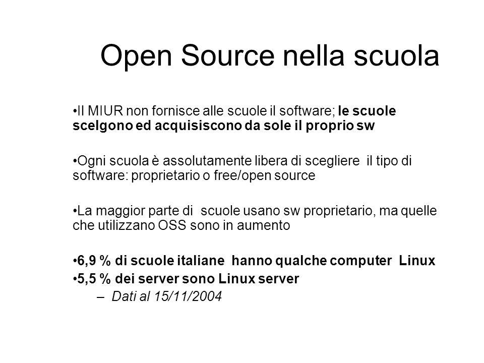Open Source nella scuola Il MIUR non fornisce alle scuole il software; le scuole scelgono ed acquisiscono da sole il proprio sw Ogni scuola è assoluta