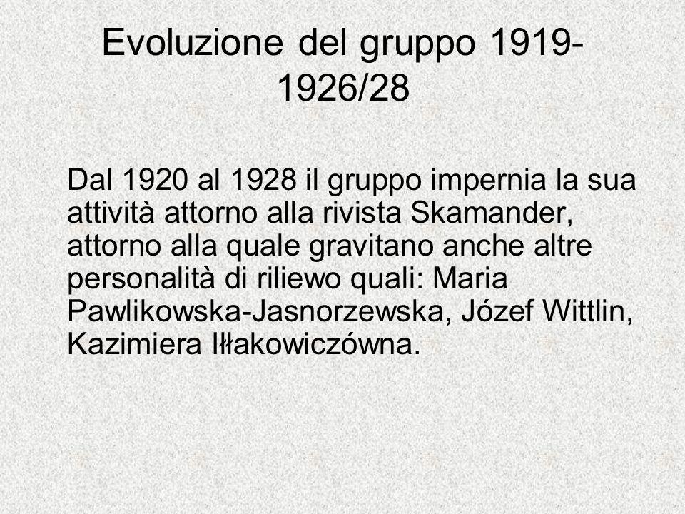 Evoluzione del gruppo 1919- 1926/28 Dal 1920 al 1928 il gruppo impernia la sua attività attorno alla rivista Skamander, attorno alla quale gravitano anche altre personalità di riliewo quali: Maria Pawlikowska-Jasnorzewska, Józef Wittlin, Kazimiera Iłłakowiczówna.