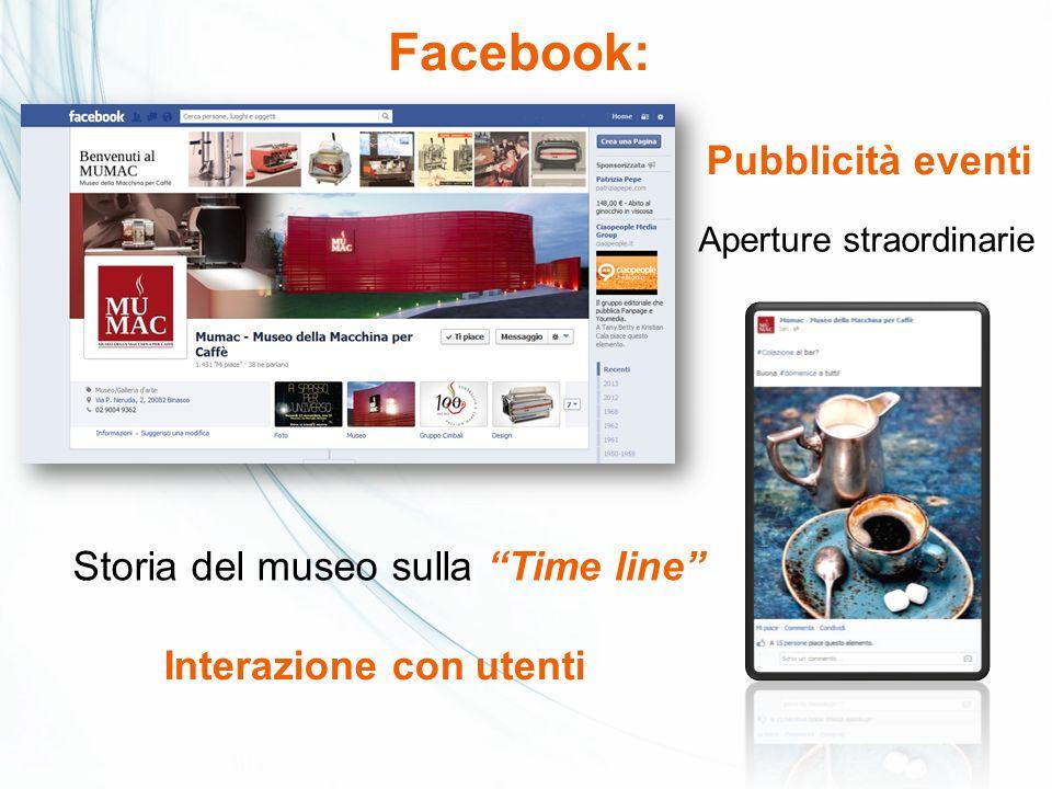 Facebook: Pubblicità eventi Interazione con utenti Aperture straordinarie Storia del museo sulla Time line