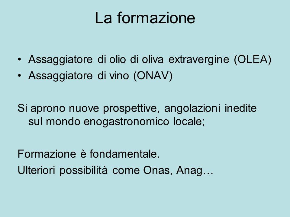 La formazione Assaggiatore di olio di oliva extravergine (OLEA) Assaggiatore di vino (ONAV) Si aprono nuove prospettive, angolazioni inedite sul mondo enogastronomico locale; Formazione è fondamentale.