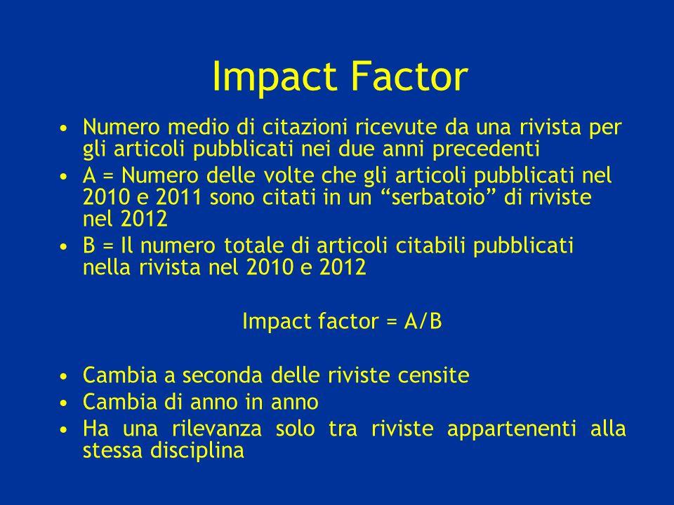 Impact Factor Numero medio di citazioni ricevute da una rivista per gli articoli pubblicati nei due anni precedenti A = Numero delle volte che gli art