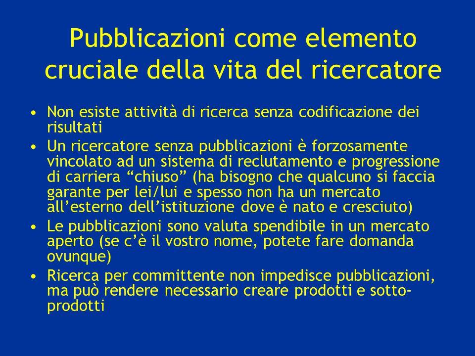 Pubblicazioni come elemento cruciale della vita del ricercatore Non esiste attività di ricerca senza codificazione dei risultati Un ricercatore senza
