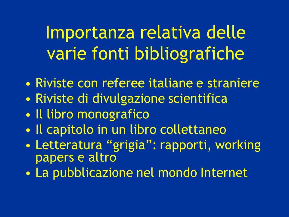 Importanza relativa delle varie fonti bibliografiche Riviste con referee italiane e straniere Riviste di divulgazione scientifica Il libro monografico