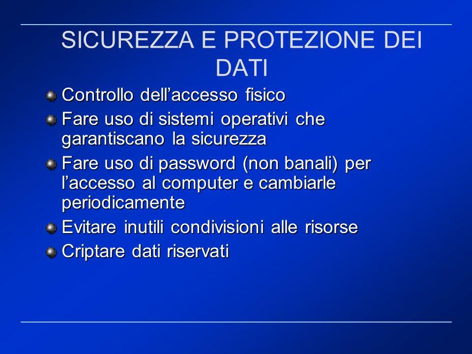 SICUREZZA E PROTEZIONE DEI DATI Controllo dellaccesso fisico Fare uso di sistemi operativi che garantiscano la sicurezza Fare uso di password (non ban