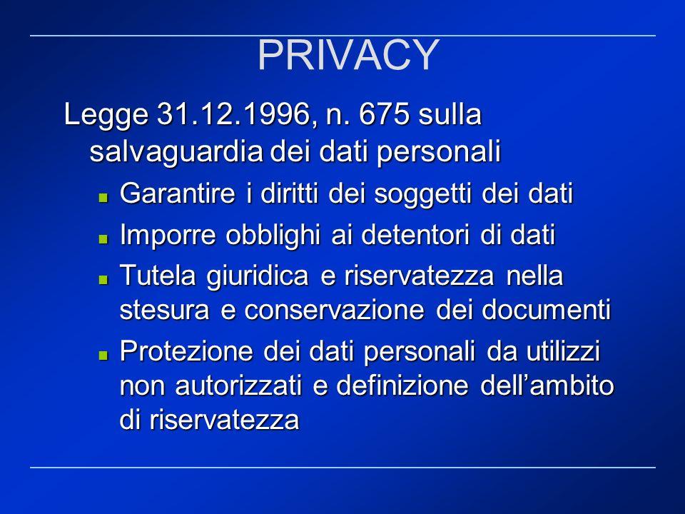 PRIVACY Legge 31.12.1996, n. 675 sulla salvaguardia dei dati personali Garantire i diritti dei soggetti dei dati Garantire i diritti dei soggetti dei