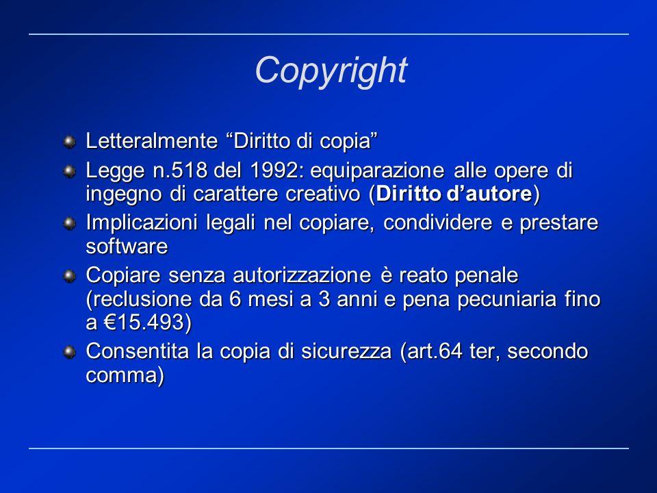 Copyright Letteralmente Diritto di copia Legge n.518 del 1992: equiparazione alle opere di ingegno di carattere creativo (Diritto dautore) Implicazion