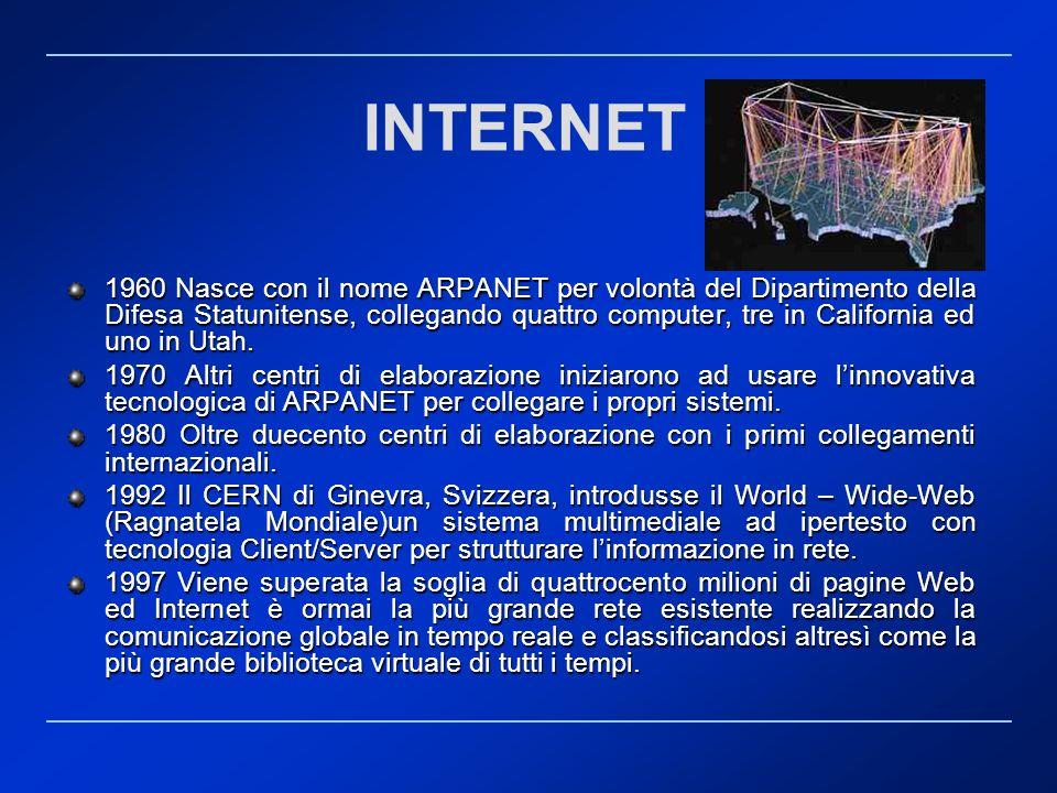 INTERNET 1960 Nasce con il nome ARPANET per volontà del Dipartimento della Difesa Statunitense, collegando quattro computer, tre in California ed uno