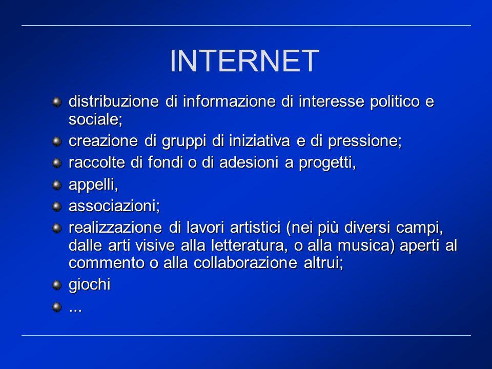 distribuzione di informazione di interesse politico e sociale; creazione di gruppi di iniziativa e di pressione; raccolte di fondi o di adesioni a pro