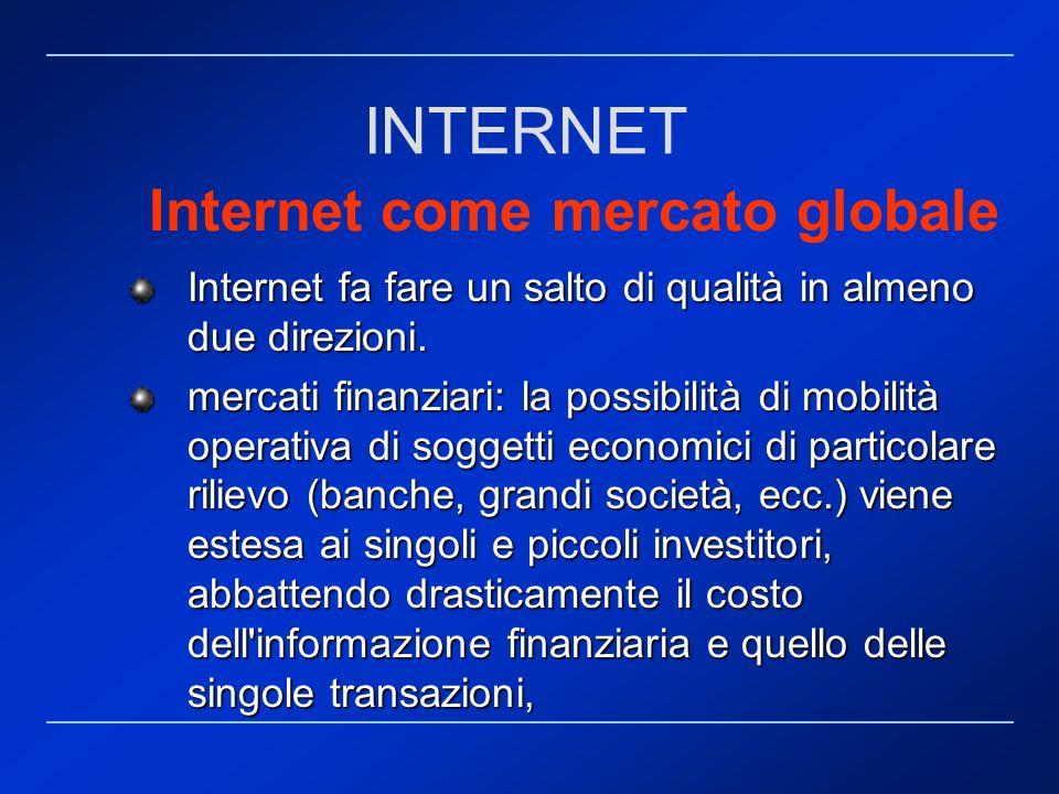 Internet come mercato globale Internet fa fare un salto di qualità in almeno due direzioni. mercati finanziari: la possibilità di mobilità operativa d