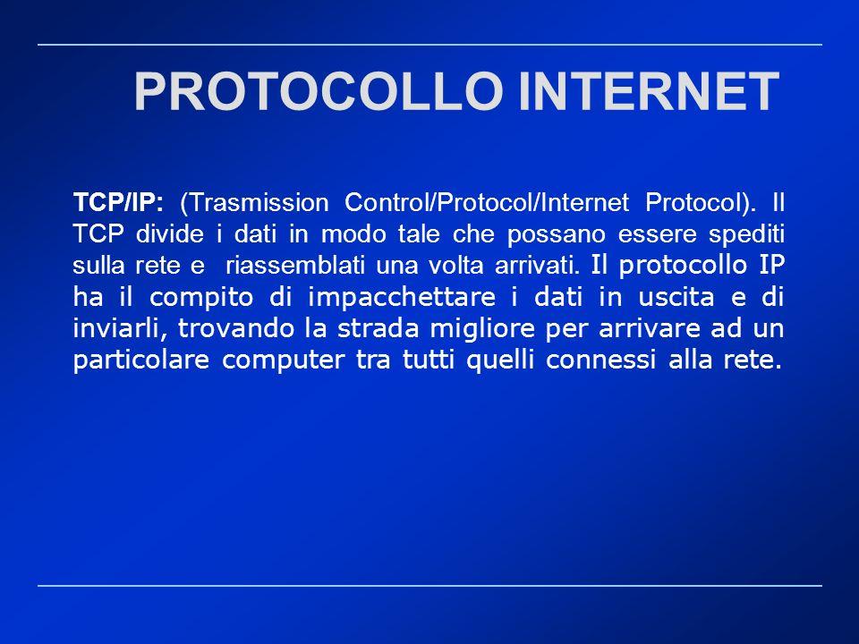 TCP/IP: (Trasmission Control/Protocol/Internet Protocol). Il TCP divide i dati in modo tale che possano essere spediti sulla rete e riassemblati una v