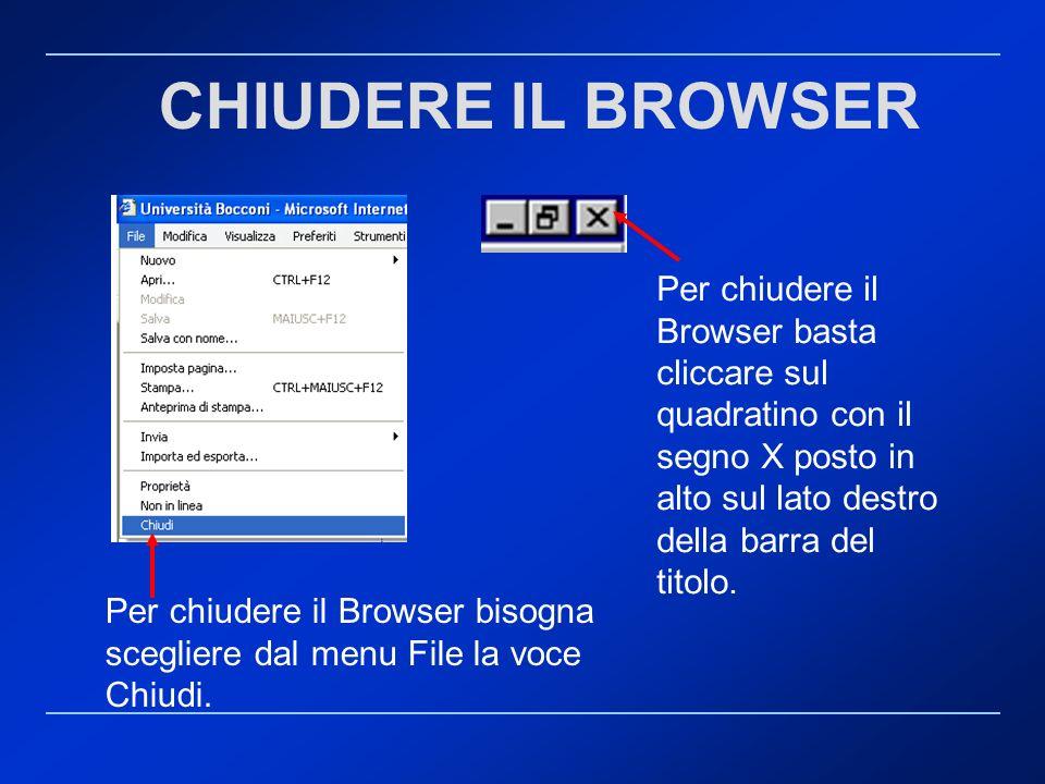 Per chiudere il Browser bisogna scegliere dal menu File la voce Chiudi. Per chiudere il Browser basta cliccare sul quadratino con il segno X posto in