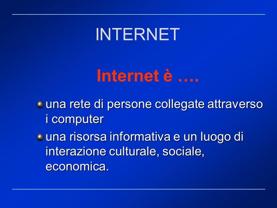 Internet è …. una rete di persone collegate attraverso i computer una risorsa informativa e un luogo di interazione culturale, sociale, economica. INT