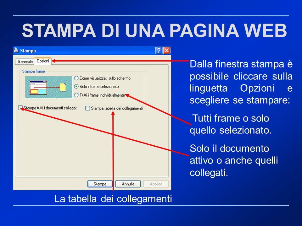 STAMPA DI UNA PAGINA WEB Dalla finestra stampa è possibile cliccare sulla linguetta Opzioni e scegliere se stampare: Tutti frame o solo quello selezio
