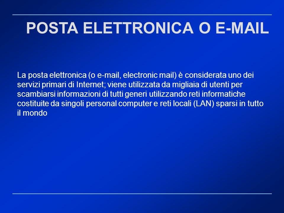 La posta elettronica (o e-mail, electronic mail) è considerata uno dei servizi primari di Internet; viene utilizzata da migliaia di utenti per scambia